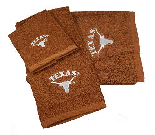 Northwest University of Texas Longhorns 3 Piece Embroidered Towel Set - Includes Bath Towel, Hand Towel & Washcloth