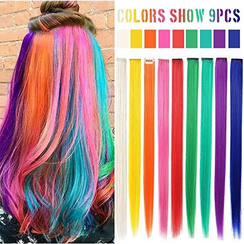Vaeiner MQY 9 STKS Regenboog Haaraccessoires Pop Clip In/Op Multi-Color Party Hoogtepunten Rechte Gekleurde Extensions Voor Amerikaanse Meisjes En Poppen Pruik Stukken Kleurrijke Haarstukken