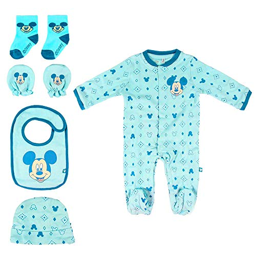 Geschenkset Welkom voor kinderen, Disney Mickey Mouse en Body, muts, slabbetjes, sokken, handschoenen, 1-3 maanden, 100% katoen