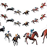 4 Pieces Horse Racing Banner Horse Race Streamer Kentucky Horse Derby Garland Banner for Racing Theme Birthday Baby Shower Wedding Party Decoration , Pre-assembled