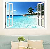 Large Removable Beach Sea 3D Window Decal Wall Sticker Home Decor Exotic Beach View Art Wallpaper Mural