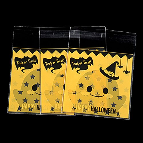Demarkt Zelfklevende Opp zakjes plastic zakjes klein platte zakjes doorzichtige zakjes koekjes gebak zakjes snoepgoed cadeauverpakking pompoen/geest/racket voor Halloween, 100 stuks