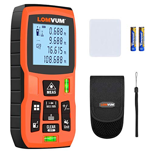 Lomvum Laser Measure 165Ft Laser Tape Measure Laser Measurement Tool with M/in/Ft Unit Switching, Backlit LCD, Pythagorean Mode, Measure Distance, Area and Volume - Carry Pouch and Battery Included