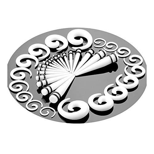 JZWDMD 36 Piezas Gauges Kit de Dilatadores de Oreja de Acrílico 14G-00G Sujeción Túnel Cónico Helix Espiral Plug Set Doble O-Rings Joyería Piercing,White