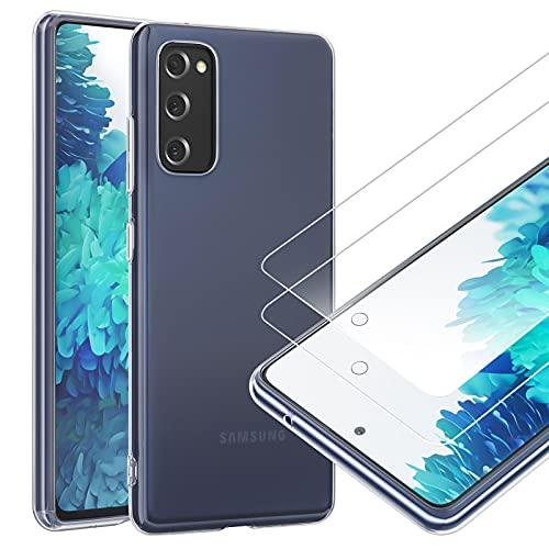 NEW'C Cover per Samsung Galaxy S20 FE Gel TPU in silicone ultra trasparente e 2× vetro temperato per Samsung Galaxy S20 FE, Pellicola proteggi schermo