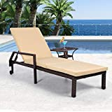 AECOJOY Adjustable Outdoor Rattan Wicker Chaise Patio Lounge Chair, for Patio Beach Pool Backyard Lounge Chairs with Cushion and Wheels, Brown