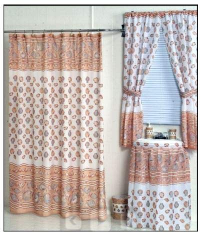 Ocean Sea Shells Shower and Window Curtain Set