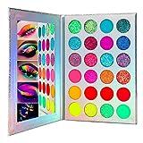 24 colores paleta de sombras de ojos Glow, paleta de sombras de ojos de neón Glow in the Dark, kit de maquillaje de Halloween UV Glow Sombras de ojos Pigmento luminoso