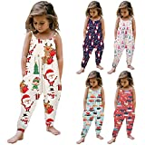 Dreamyth Christmas Toddler Girls' Jumpsuits Rompers with Pockets Cute Cartoon Print Sleeveless Harem Pants Outfits 1-6 Years