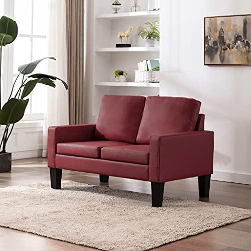 YOPOTIKA Sofa Couch Kunstleder Wohnmöbel Polstergarnitur 2-Sitzer-Sofa Weinrot Kunstleder