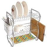 3 couches Égouttoir à vaisselle en acier inoxydable Abstrait Support de coutellerie de plateau d'égouttage de séchage de...
