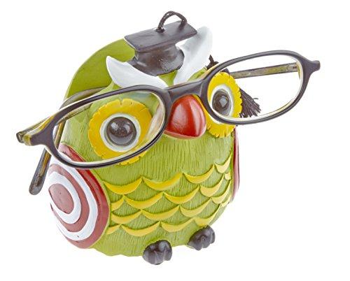 by-Bers Brillenhalter Eule Uhu, Grün, handbemalt, lustig, nicht nur für Kinder, auch für Erwachsene