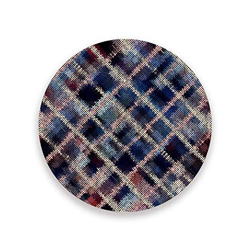 CHEHONG Sottobicchieri assorbenti blu senza cuciture, motivo scozzese in ceramica, base in sughero, per decorare la casa, ufficio, bicchieri di vetro, tavolo da pranzo, set da 1, 2, 4 pezzi, Ceramica + base in sughero., Colore, Set di 4