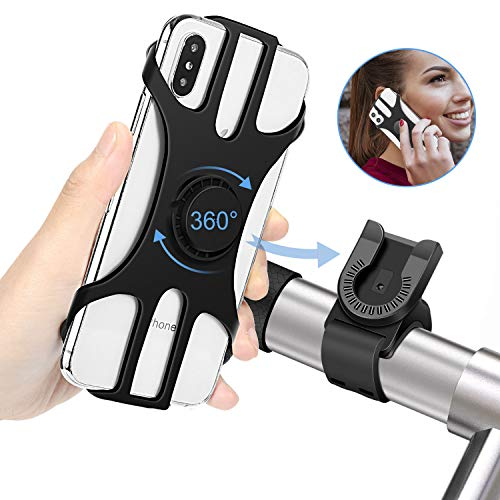 MOSUO Soporte Movil Bicicleta, Universal 360° Rotación Soporte Móvil Moto Bici Montaña GPS Desmontable Silicona Motocicleta Soporte para iPhone, Samsung, Huawei y 4.5
