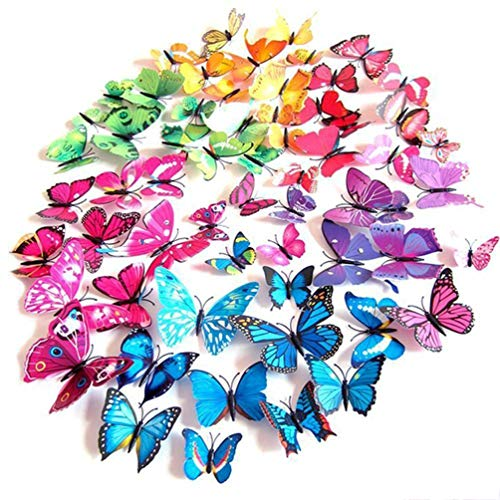 Imbry 72 Pcs 3D Colorful Removable Butterfly Wall Stickers DIY Art Decor Crafts for Home DIY, Baby Room, Party and Birthday Decoration