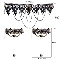 HOWAF Black Lace Choker Gothic Tattoo Choker Necklace Bracelet Set Gothic Necklace Lolita Choker Chain Bead Pendant Necklace Bracelets Rings for Women Girls Halloween Costume Party Accessories #2