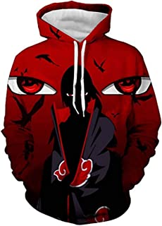 Ainuno Men 3D Printed Naruto Hoodie Zip/Pullover Anime Thin Hooded Sweatshirt