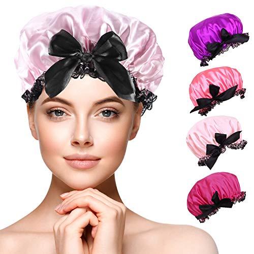 Duschhaube Damen, Duschkappe, 4 Stück Wasserdichte Elastische Lange Haare Haarschutz Haarhaube für Salon, Spa, Reise, Hotel, Dusche,Badezimmer (4 Stück)