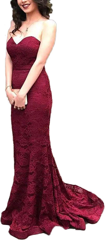 Yisha Bello Women's Sweetheart Lace Evening Dress Long Mermaid Pro Gowns