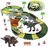 Dookey Pista Macchinine Giocattolo, Flessibile Piste Macchinine Elettriche, 142 Pezzi Track Magic Trucks Dinosauro Giocattoli Regalo con Cartello Stradale Tower Bridge per Bambini 3 4 5 6 Anni