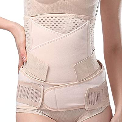 Postpartum Belly Wraps, Breathable 3 Belts in 1 Set Post Pregnancy Belly Binding Bands Recovery Waist Belly Pelvic Support Wrapping Body Shaper (Size F, Beige) by