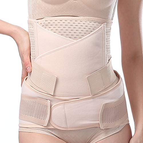 Postpartum Belly Band 3 in 1 Support Belt, Post Pregnancy Belly Girdle Recovery Waist Pelvis Body Shaper Postnatal Shapewear Beige