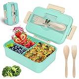 Lunch Box, Bento Box Boite Bento, Boîte à Repas, Sécurité Anti-Fuite Écologique Hermétique Boîte à Repas pour Micro-Ondes et Lave-Vaisselle pour Le Pique-Nique, l'école, Le Travail, Bureau (vert)