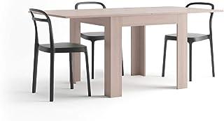 Mobili Fiver, Table Extensible, Eldorado, Orme Perle, 90 x 90 x 79 cm, Made in Italy