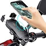 YGL Support Téléphone Moto,Chargeur USB/QC 3.0+Chargeur sans Fil 15 W,Tourne à 360 °, pour...