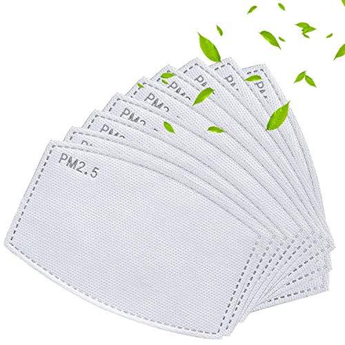 10 filtros de carbón activado PM2.5 reemplazables, 5 capas reemplazables, anti niebla, filtro protector de boca para exteriores