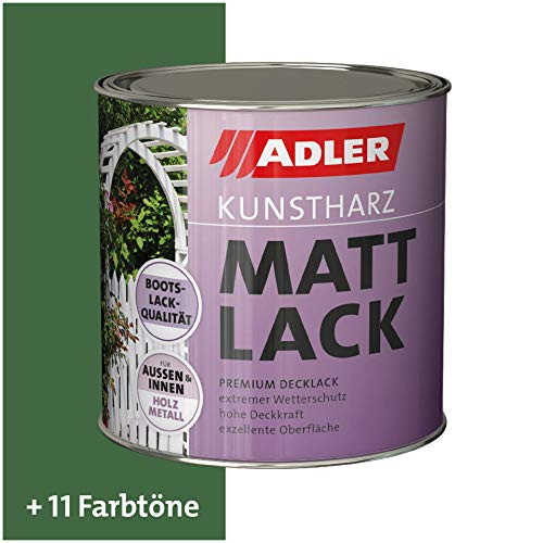 ADLER Kunstharz Mattlack RAL6002 Laubgrün 750 ml - Erstklassiger Lack matt, geruchsarm mit guter Wetter- und Vergilbungsbeständigkeit und hoher Deckkraft - Kunstharzlack in Bootslack Qualität