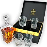 Premium Quality Whiskey Decanter Set. Genuine Lead Free Crystal Designed In Europe. 27oz Decanter With 4 Glasses In Unique Stylish Gift Box. Liquor Decanter Set For Spirits, Whisky, Scotch Or Bourbon.