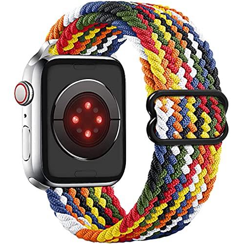 Vecann Solo Loop Correa Nailon trenzada compatible con Apple Watch 38mm 40mm 42mm 44mm, ajustable Elásticos deportivos Correa de repuesto transpirable Compatible con iWatch SE Series 6/5/4/3/2/1