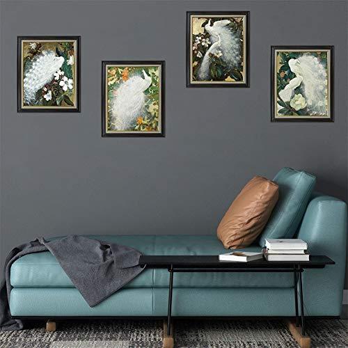 YCEOT 3D Geïmiteerde Vogels Beeld Frame Decoratieve Schilderij Verwijderbare Sticker 4 Koppel Schilderij Sculptuur Muurstickers