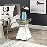 Mirrored End Table with Crystal Inlay, Square Modern Side Table Silver Accent Table, Side Table Pedestal Stand for Living Room Bedroom from MIREO Fine Furniture