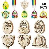 SPECOOL Joyeuses Pâques décorations, 60pcs en Bois Suspendus Ornements Suspendus pour Arbre, Oeufs de Pâques Fleur de Lapin, Bricolage Artisanat de Pâques (Colorful)