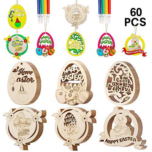 SPECOOL Decorazioni di buona Pasqua, 60pcs Ornamenti Pendenti in Legno per Albero, Coniglietto Coniglio Fiori Uova di Pasqua, Artigianato Pasquale Fai da Te (Colorful)