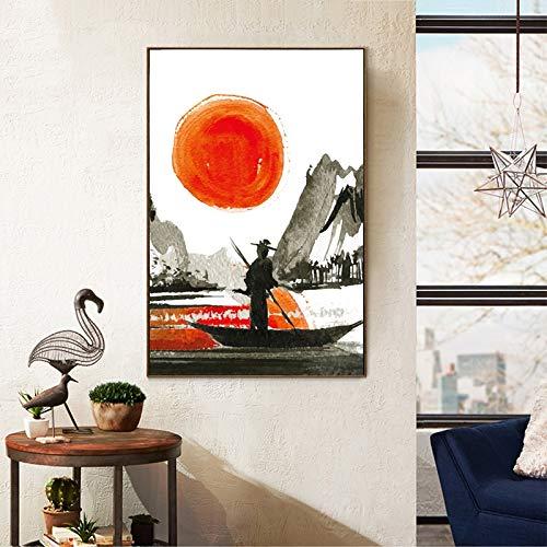 Geiqianjiumai Japanse inkt canvas kunstdruk poster aquarel muur decoratie frameloze schilderij 40x50 cm