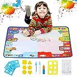 Super Groß Magic Doodle Matte, Chwares 100x80cm Wasser Doodle Malmatte mit Stifte,Stempelformen Raddichtung und Wasserschale, ,Wiederverwendbare Wasser Malmatte für Kinder Baby Mädchen Jungen, MEHRWEG -