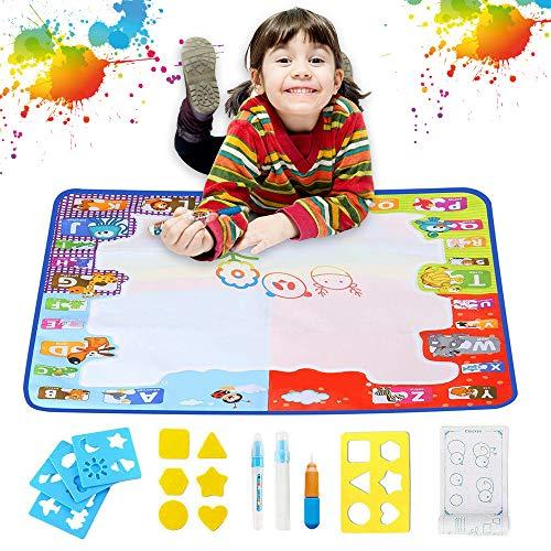 Super Groß Magic Doodle Matte, Chwares 100x80cm Wasser Doodle Malmatte mit Stifte,Stempelformen Raddichtung und Wasserschale, ,Wiederverwendbare Wasser Malmatte für Kinder Baby Mädchen Jungen, MEHRWEG