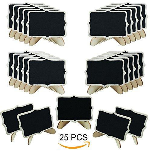 Woohome 25 Pz Mini Pizarra con Soporte Tablero de Mensajes Signos para La Decoración de Restaurantes, Bodas, Banquetes