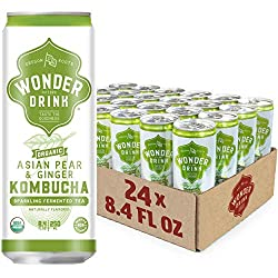 Contains 24 - 8.4 ounce cans Wonder Drink Kombucha is fermented sparkling tea with a taste of goodness USDA Organic, Gluten Free, Vegan, Non-GMO, & BPA Free Always guaranteed non-alcoholic