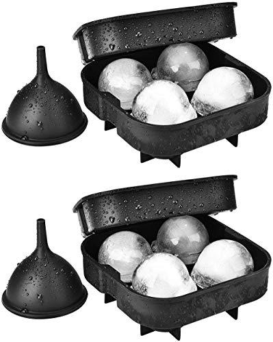 TOPELEK Zwei Silikon Eisformen FDA bestätigt Lebensmittel-Sicheres Material, einfach Eiskugeln EIN zusätzlicher Silikon-Trichter für einfaches Gießen Satz von 2 zu entfernen Spülmaschinenfest.