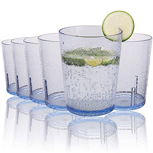 Vasos de Agua,6Pcs 365 ml Vasos Plastico Duro Reutilizable Vasos Agua Cristal Plástico Duro Vasos de Plástico Acrílico Irrompibles para Niños Plástico Duro Reutilizables Cristal Copas Blue