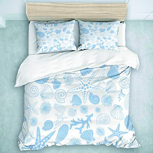 LOSNINA Bettwäsche-Set,Mikrofaser,Seesterne, Korallen, Seeigel und Muscheln in Weiß- und Hellblau-Tönen,1 Bettbezug 200 x 200cm + 2 Kopfkissenbezug 50 x 80cm