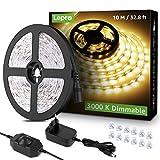 Lepro Tira de LED 10M blanca cálida 3000K, Tira luz regulable 600 LED SMD 2835, cadena de luz blanca autoadhesiva, Tira LED 24W 1800lm, Luces de Tiras LED para decoración navideña de cocina interior