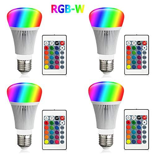 FFTONG RGB LED Glühbirne, Farbwechsel Farbige Leuchtmittel RGBW LED Lampe 10W A19 E27 Basis Dimmbare Farbige Leuchtmitte Lampen RGB LED Birnen mit Fernbedienung, 16 Farben, Memory-Funktion (4 Stücke)