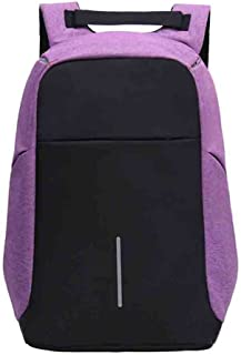 Unisex Laptop Backpack Travel Daypack with USB Charging Port (Purple)