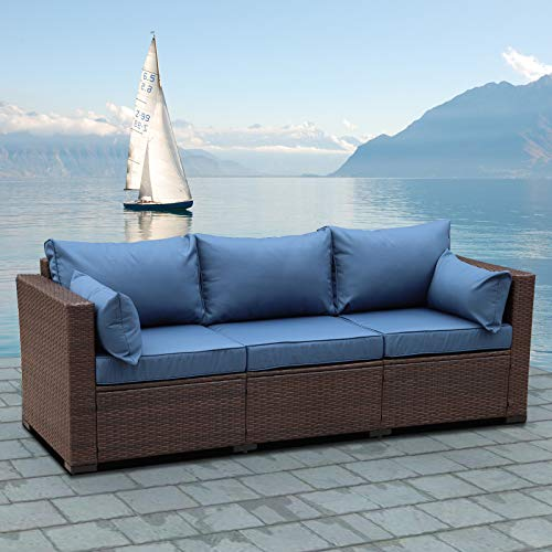 3-Seat Patio Wicker Sofa - Outdoor Rattan Couch Furniture Steel Frame and Blue Cushion