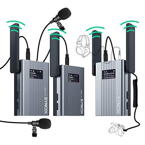 SYNCO Lavalier Funkmikrofon, UHF 60-Kanäle Wireless Microphone, Kabellos Ansteckmikrofon System, bis zu 150m, Audioüberwachung 2 Transmitter 1 Empfänger für Smartphone DSLR Kamera Camcorder WMic-TS